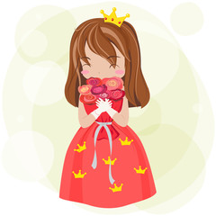 Cute cartoon princess with dress and crown is showing happy love expression vector