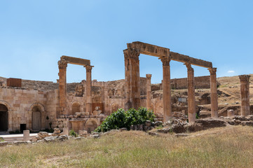 North Theater, Ancient Roman city of Gerasa of Antiquity , modern Jerash, Jordan