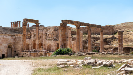 North Theater, Ancient Roman city of Gerasa of Antiquity , modern Jerash, Jordan
