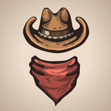 Cowboy hat and bandana scraf.Vector illustration