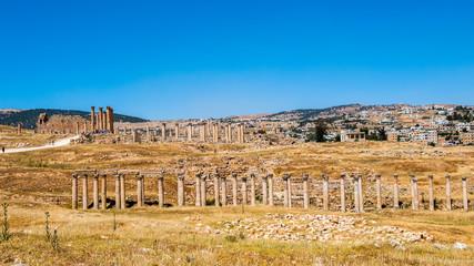 Colonnade of the Ancient Roman city of Gerasa of Antiquity , modern Jerash, Jordan