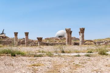 Ruins of the Amman Citadel complex (Jabal al-Qal'a), a national historic site at the center of downtown Amman, Jordan.