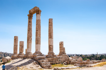 Temple of Hercules of the Amman Citadel complex (Jabal al-Qal'a), a national historic site at the center of downtown Amman, Jordan.