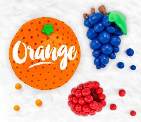 Plasticine fruits orange