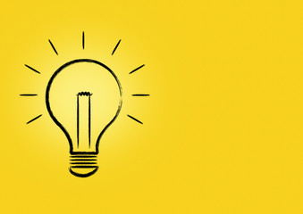 draw bulb on yellow paper