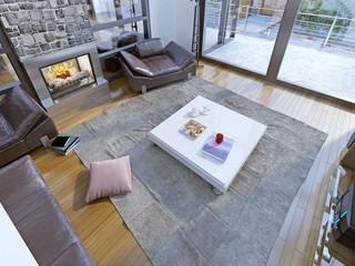 Soft furniture in living room