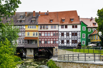 Beautiful nature and houses of the touristic part of the city of Erfurt, Germany. Erfurt is the Capital of Thuringia and the city was first mentioned in 742