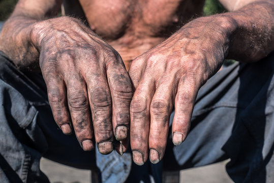 Worker Hands. Worker Man with Dirty Hands.