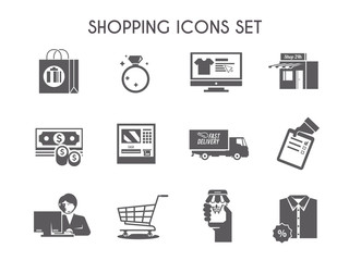Simple black shopping vector icon set for your business, web sites, presentations, advertising etc. Quality design illustrations, elements and concept.