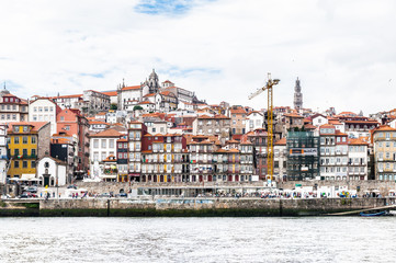 Ribeira Quarter, Valley Douro, traditional sight, UNESCO World Heriatge site. View from the River Douro, one of the major rivers of the Iberian Peninsula (2157 m)