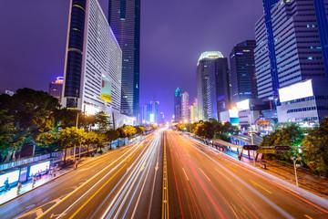 Shenzhen, China Cityscape over Main Road.