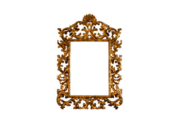 Baroque basswood gold mirror frame