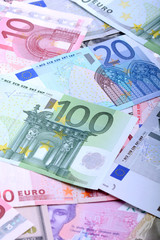 European banknotes, Euro currency from Europe, Euros.