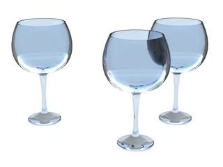 three glasses set in blue tones