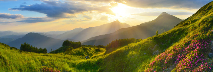 Sunset in summer mountains