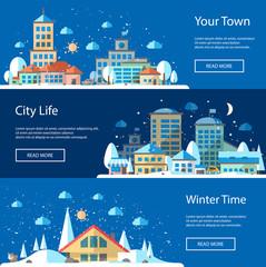 Illustrations of flat urban winter landscape compositions