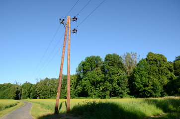 Electric pole on the road
