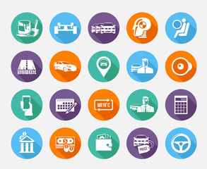 Simple  icons set. Car sale. Set 2