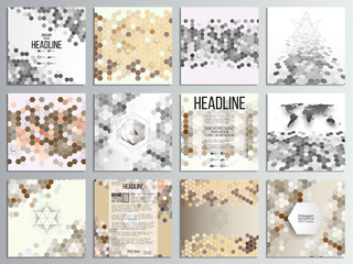 Set of 12 creative cards, square brochure template design