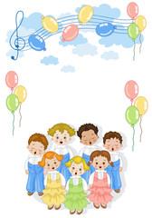 Coro di Bambini - Sfondo con decorazioni per auguri