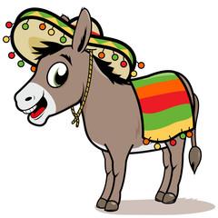 Cartoon Mexican donkey