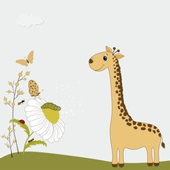 Cute giraffe with chamomile and insects