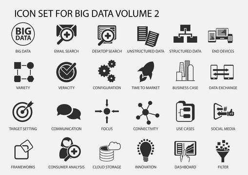 Big data vector icon set in flat design