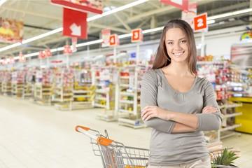 Supermarket, Shopping, Women.