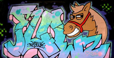 Smiling Horse in Graffiti