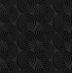 Black 3d connecting spirals with thick edge in a row