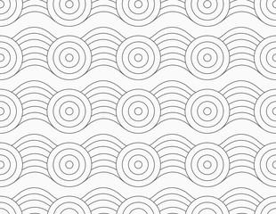 Gray circles on bulging waves