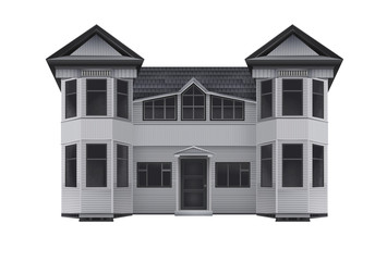 Wooden house illustration. Isolated front view drawn wooden house design illustration.