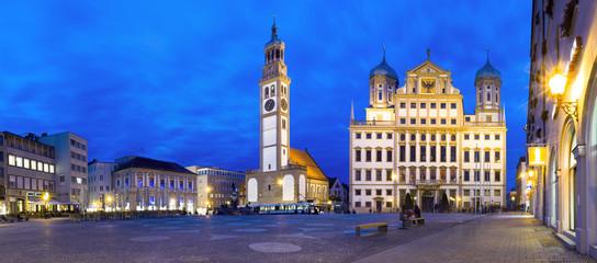 Augsburg Nacht Panorama Rathausplatz
