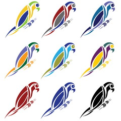 set of abstract macaw parrot