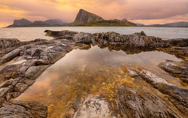 Wall Mural - Sunset over Lofoten islands, Norway