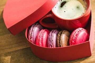 Love, macaroon, strawberry.