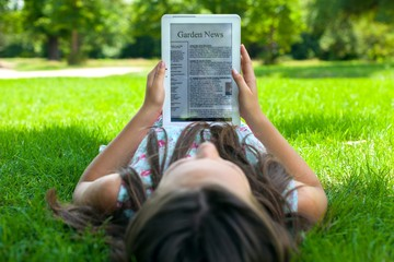 Digital Tablet, Reading, Newspaper.