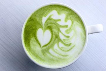 Latte art with Japanese green tea matcha
