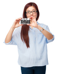 happy chinese woman with camera