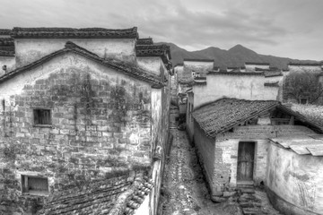 ancient buildings in Anhui province, China. black and white tone.