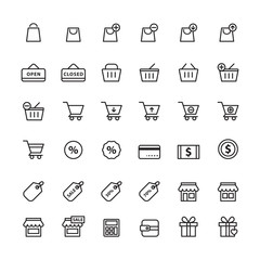 shopping icon set vector, black line