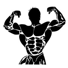 Bodybuilding, power lifting concept in flat style on white background