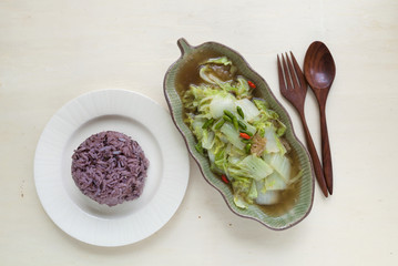Fried vegetable with oyster sauce with rice