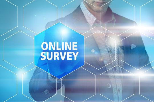 Businessman pressing online survey button on virtual screens. Bu