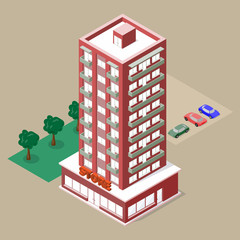 Isometric multistory building with store and balconies. There are cars, lawn and trees beside this. Vector illustration for your design.