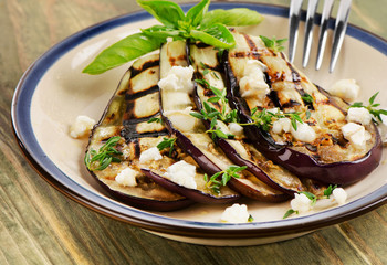 Grilled eggplant slices on a plate