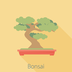 Vector illustration long shadow flat icon of bonsai tree
