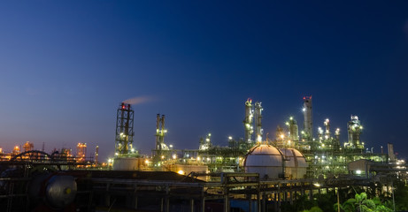 Petrochemical plant at night light