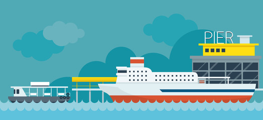 Ferry Boat Pier Flat Design Illustration Icons Objects