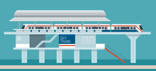 Sky train Station Flat Design Illustration Icons Objects